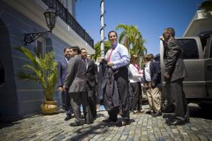 Rick Santorum  visits La Fortaleza, the governors mansion in San Juan, to meet with Governor Luis Fortuno  yesterday.