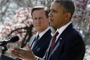 President Obama and British PM David Cameron in a joint news conference in the Rose Garden, Wednesday, March 14, 2012.
