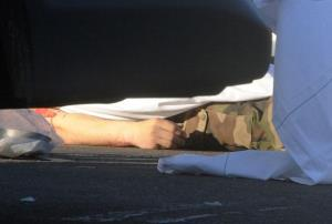 Picture taken on March 15, 2012 in Montauban of the body of one of the three French soldiers killed in a drive-by shooting near a military base.