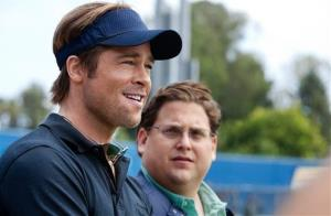 Brad Pitt, left, and Jonah Hill are shown in a scene from Moneyball.