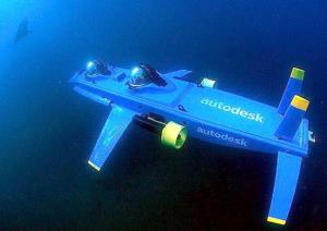 The Deep Flight Aviator, a winged submersible designed by Graham Hawkes, is seen during a test mission.