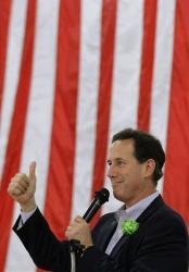 Rick Santorum speaks at a campaign rally Saturday in Effingham, Ill.