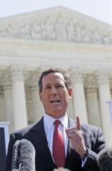 Rick Santorum speaks in front of the Supreme Court yesterday.