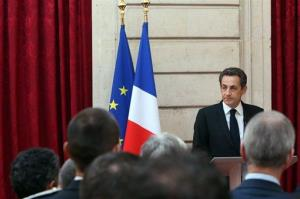 Nicolas Sarkozy speaks to magistrates and policemen at the Elysee palace in Paris, Tuesday, March, 27, 2012.