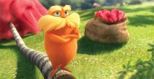 The Lorax, voiced by Danny Devito, in a scene from Dr. Seuss' The Lorax.