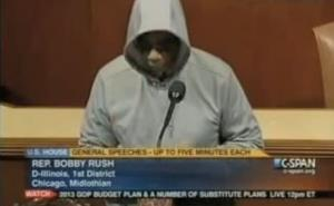 Rep. Bobby Rush is seen wearing a hoodie in this screenshot from a YouTube video.