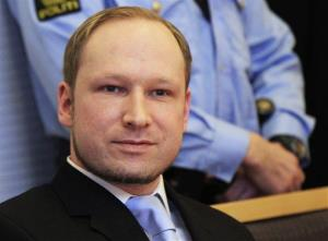 Anders Behring Breivik arrives for a detention hearing at a court in Oslo, Norway, Monday, Feb. 6, 2012.
