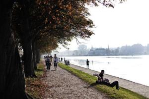 People enjoying the warm weather at the Lakes in Copenhagen on Saturday, Oct 1, 2011.