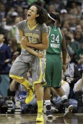 Baylor center Brittney Griner reacts to her shot during the second half of the title game.