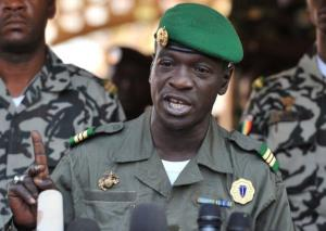Malian military junta leader captain Amadou Sanogo speaks on April 3, 2012 at Kati military camp near Bamako.