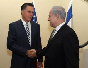 Benjamin Netanyahu meets with Mitt Romney in the Israeli Prime Minister's residence on January 13, 2011 in Jerusalem, Israel.