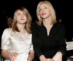 Courtney Love and daughter Francis Bean in the front row at the Collection Bebe Fall 2006 show during the Mercedes Benz Fashion Week at Smashbox Studios on March 23, 2006 in Culver City, California.