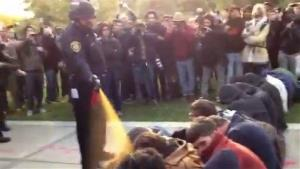 Lt. John Pike uses pepper spray as he walks down a line of Occupy demonstrators sitting on the ground at the University of California, Davis, late last year.