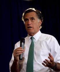 Mitt Romney speaks to a crowd in Warwick, R.I., Wednesday.
