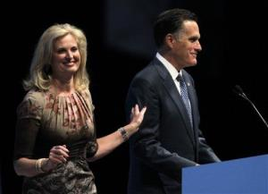 Ann and Mitt Romney at the National Rifle Association convention in St. Louis Friday.