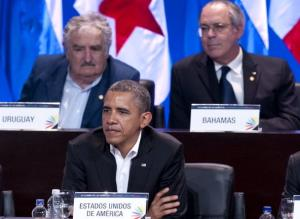 US President Barack Obama attends the opening ceremony of the Summit of the Americas in Cartagena, Colombia yesterday.