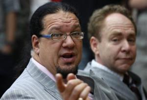 US illusionists and magicians Penn Jillette, left, and Raymond Teller.