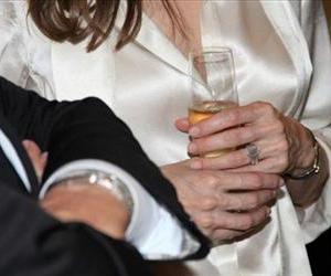 Angelina Jolie sports an engagement ring as she and Brad Pitt view works from the Chinese collection at the the Los Angeles County Museum of Art on April 12.