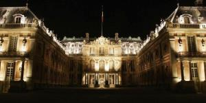 The facade of the Versailles castle is seen at night,  September 29, 2004  in Versailles, France.