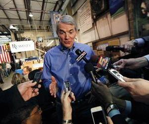 Rob Portman, R-Ohio talks to reporters in Cincinnati, Ohio.