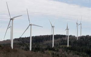 Wind turbines line the hillside in Sheffield, Vermont.