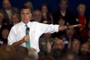 Mitt Romney speaks to a crowd during a campaign event in Warwick, RI.