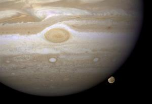 Jupiter's moon Ganymede, lower right, is the largest moon in the solar system and has its own magnetic field.