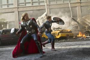 In this film image released by Disney, Chris Hemsworth portrays Thor, left, and Chris Evans portrays Captain America in a scene from The Avengers.