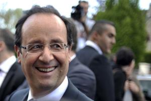 Francois Hollande visits a village in the neighborhoods of Tulle, southwest France, on May 6, 2012.
