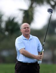 Rush Limbaugh golfs during the Els for Autism Pro-am in West Palm Beach, Florida, in March.