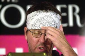 Author David Foster Wallace reads selections of his writing during the New Yorker Magazine Festival in New York September 27, 2002.