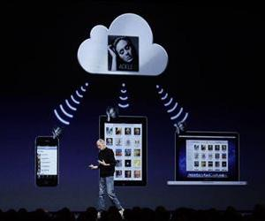 Apple CEO Steve Jobs talks about the music component of iCloud at the Worldwide Developers Conference in San Francisco, Monday, June 6, 2011.