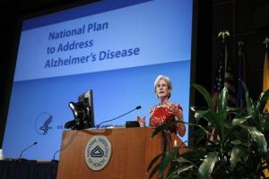 Health and Human Services Secretary Kathleen Sebelius speaks during the Alzheimer's Disease conference, Tuesday, May 15, 2012, at the National Institute of Health in Bethesda, Md.