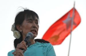 In a file photo from March 5, 2012, Myanmar opposition leader Aung San Suu Kyi delivers a speech in Naypyidaw.