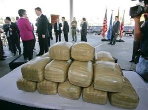 Confiscated bales of marijuana, but not the ones pulled from the ocean off California.