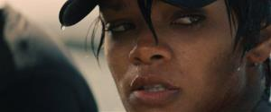 In this film publicity image released by Universal Pictures, Rihanna is shown in a scene from Battleship.
