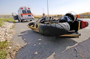 A stock image of a motorcycle crash.