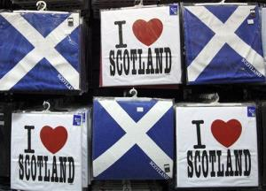 A display of t-shirts are seen for sale in a Scottish memorabilia shop in Edinburgh.