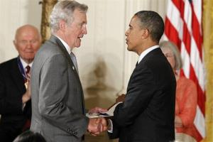 President Obama awards the Medal of Freedom to Richard Platt, who is accepting for Juliette Gordon Low, founder of the Girl Scouts.