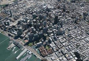 This image released by Google shows a three-dimensional view of San Francisco on Google Earth.