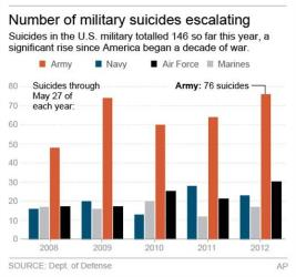 This chart shows suicides across the military since 2008.