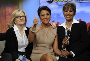 Robin Roberts with her sister Sally-Ann Roberts and ABC News' Diane Sawyer on Good Morning America Monday, June 11, 2012.