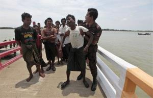 Hundreds of Rohingyas have been intercepted while attempting to flee to Bangladesh.