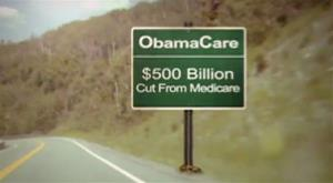 In this image provided by Crossroads GPS, a video image from a political ad is seen.