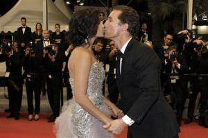 Model Camila Alves, left, and actor Matthew McConaughey kiss as they depart after a screening of Mud at the 65th international film festival, in Cannes, southern France, Saturday, May 26, 2012.