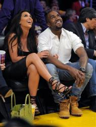 Kim Kardashian and Kanye West plot terrorist attacks ... er, we mean, they watch the Los Angeles Lakers play the Denver Nuggets on May 12, 2012, in Los Angeles.