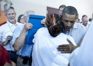 President Obama visits volunteers and evacuees at an evacuation center in Colorado Springs, Colorado.