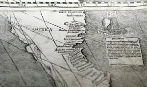 A detail of the 1507 world map by Martin Waldseemuller, the first map known to use the name America.