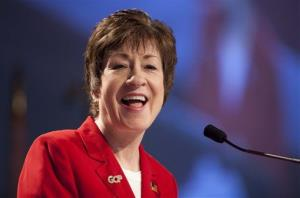 Sen. Susan Collins speaks at the Maine Republican Convention earlier this year.