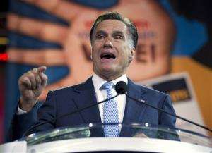 Mitt Romney gesturing during a speech to the NAACP annual convention yesterday.